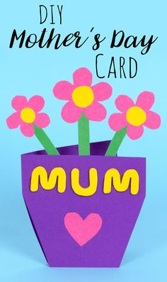 Diy Mother's Day craft, card for mum, flower pot card, kids paper craft spring ideas