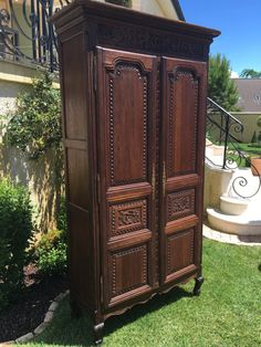Antique French Normandy Bedroom Armoire in Oak Large by Thegatz