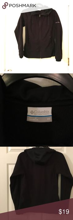 Black hooded Columbia zip up sweater Size extra small black zip up hoodie did Columbia sweater Columbia Jackets & Coats