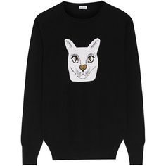 Loewe Intarsia wool-blend sweater (2.475 RON) ❤ liked on Polyvore featuring tops, sweaters, relaxed fit tops, wool-blend sweater, white cat sweater, cat print top and cat top