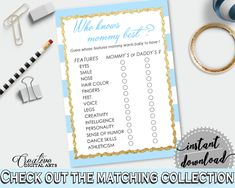 Gold Theme Baby Black Striped Theme Mommy Information Baby Smile WHO KNOWS MOMMY Best, Baby Shower Idea, Digital Print - bs002 #babyshowergames #babyshower
