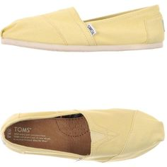 Toms Low-tops & Trainers (€43) ❤ liked on Polyvore featuring shoes, sneakers, yellow, toms sneakers, tom trainer, yellow flat shoes, round toe shoes and round cap