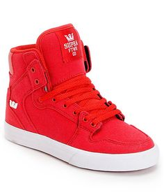 32152d6c6c7e Supra Kids Vaider Red Canvas High Top Skate Shoes