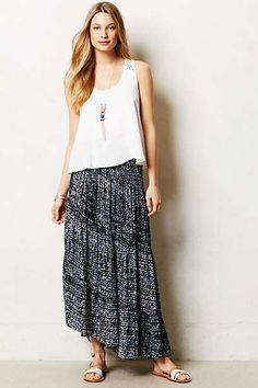 Anthropologie Shibori Slant Maxi Skirt
