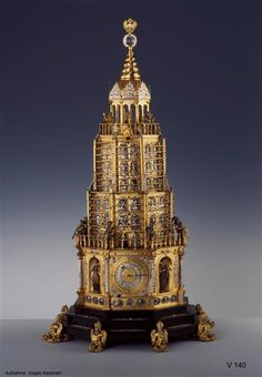Congreve clock Schlottheim, Hans (1547-1625) | Watchmaker probably Augsburg, in 1600.  Silver, of brass, iron, steel, wood, leather, rock crystal, cold paint, gut.