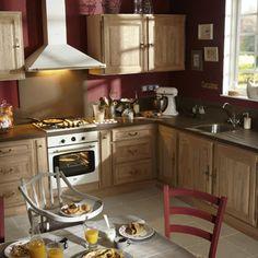 meuble de cuisine delinia composition type cherry rouge