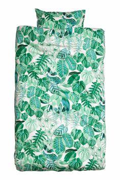 H&M Leaf-patterned duvet cover set