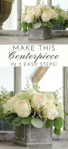 DIY Floral arrangement for wedding or celebration. 3 Easy Steps. Flower arrangement tutorial. DIY Wedding centerpieces