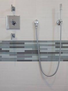 Bathroom Glass Tile Bathroom Pictures Design, Pictures, Remodel, Decor and Ideas - page 21 Gray Subway Tile Backsplash, Grey Bathroom Tiles, Bathroom Tile Designs, Basement Bathroom, Bathroom Interior, Modern Bathroom, Bathroom Ideas, Wall Tile, Shower Tiles
