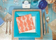 Seahorses and Shells by Tillett Textiles paper plates and napkins