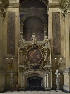 The fireplace in the great hall at Castle Howard.