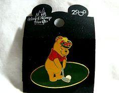 DISNEY MILLENNIUM 2000 WINNIE POOH BEAR GOLFING PIN COLLECTIBLE NEW ON CARD...