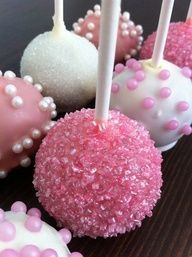 Event planning, wedding decor, decor ideas Pretty in Pink: For a bridal shower or a wedding dessert table, these hot pink cake pops will be a modern hit. Top them off with sparkling pink sugar for a blush color scheme. Cake Pops Roses, Pink Cake Pops, Cake Pop Diy, Baby Cake Pops, Oreo Cake Pops, Cookie Pops, Pink Velvet Cakes, Pink Cakes, Diy Bebe