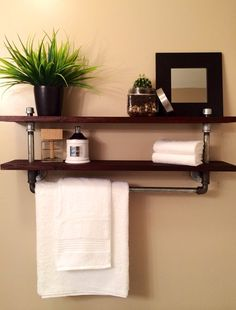 The Galvanized Pipe Towel Rack will soon be your bathrooms best feature. Attractive, Practical and Strong. This towel rack features ABOVE THE TOILET Small Bathroom Cabinets, Bathroom Towels, Simple Bathroom, Modern Bathroom, Bathroom Ideas, Pipe Decor, Industrial Pipe Shelves, Galvanized Pipe, Pipe Furniture