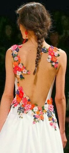 Colourful flower design lace back gown. Love this as a wedding dress idea! My favorite so far!!!