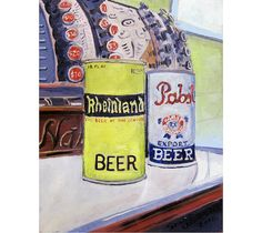 German Beer Art, Pabst Beer Art, Rheinland Antique Beer Cans from Prohibition Era Beer Painting, PBR Painting, PBR Art, Man Cave Beer Poster