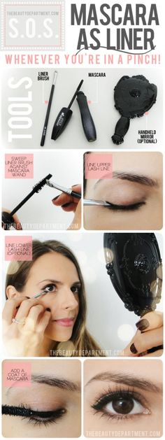 Out of eyeliner? No problem! All you need to do is get a brush and some of your mascara.Then apply the mascara as an eyeliner using the brush. Mascara Hacks, Mascara Brush, Eyeliner Hacks, All Things Beauty, Beauty Make Up, Hair Beauty, Beauty Nails, Belleza Diy, Tips Belleza