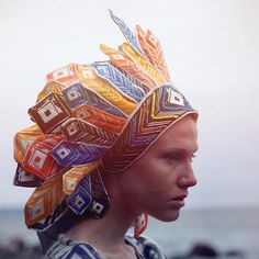 printed faux red indian headgear (Ivana Helsinki Indian Summer collection 2012)