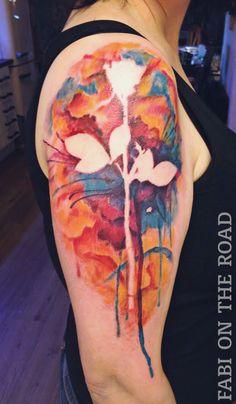 Depeche Mode Rose watercolor Tattoo by Fabi on the Road, Düsseldorf 2014
