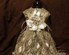 "designer one of a kind ""PLATINUM""  dog pet dress unique designer fabric , Swarovski crystals, ostrich feathers,and pearls"
