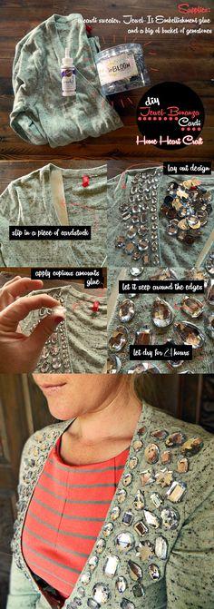 DIY rhinestone cardi sweater. No sew and the stones STAY PUT!