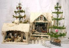 Antique feather trees and cotton snow houses. Old Fashioned Christmas, Miniature Christmas, Christmas Scenes, Christmas Past, Victorian Christmas, Vintage Christmas Ornaments, Vintage Holiday, Christmas Holidays, Christmas Decorations