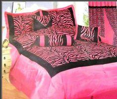 kids zebra pink  bedroom decorating ideas for girls   Black and Hot Pink Zebra Bedding Set