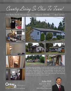 PRICE CHANGE  Over one acre of country living so close to town! Stick built home needs TLC but the location can't be beat. Fully fenced with mature trees, huge immaculate two bay shop and large storage shed for all of your toys and equipment  Contact John Hill @ (360) 529-1353 MLS # 1207823 http://9510mullenrdse.c21.com/