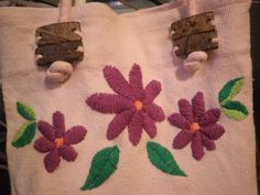 Tejiendo & Pensando: bolso rosa bordado