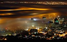 Seasonal fog is illuminated by the lights of Cape Town harbour as the city prepares for the start of the southern hemisphere winter. Cape Town is only an hour away from Franschhoek home of La Clé des Montagnes- 4 luxurious villas on a working wine farm Sick, Cities, Start Of Winter, Cape Town South Africa, Pretoria, Pictures Of The Week, Time Pictures, Places To See, Cape Town