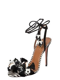 AQUAZZURA - 105MM TROPICANA SUEDE & SNAKE SANDALS - BLACK/WHITE