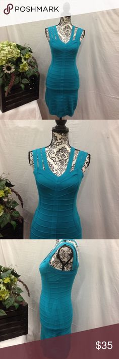Nikibiki Turquoise Bandage Dress Nikibiki. Size large. Turquoise. Has stretch. Bottom is a little stretched out but would need to be anyways for crossing legs. Nikibiki Dresses Mini