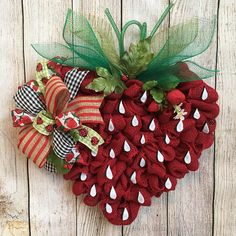 """This is oh so sweet! ❤️ Adorable 19"""" burlap strawberry wreath! This little cutie is sure to delight all of your guests! Made with red burlap and features a seven loop bow! Don't forget to notice the little lady bugs nestled comfortably in the strawberry!  Measures 19""""x19"""" **"""