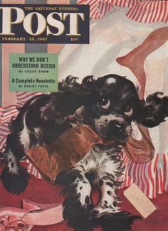A darling 1947 Saturday Evening Post cover featuring a mischievous little spaniel named Butch .... this is so Lupin ..... check our ALLPOSTERS for more.....