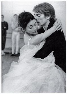 """Margot Fonteyn & Rudolf Nureyev rehearse Marguerite & Armand 1963. When she dies, Armand does not yet realize that she has gone, and only knows when her hand falls from his. Many commented that it was """"like a private moment that they didn't want to intrude on."""