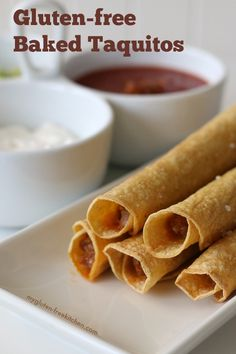 Gluten-free Baked Taquitos Recipe. My kids loved these! Easy appetizer or quick weeknight dinner!