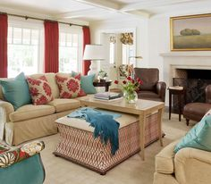 Meadow View - Tobi Fairley Interior Design #red #turquoise #fireplace