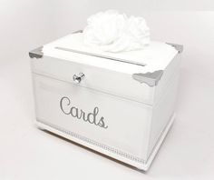 Med Silver & White Rhinestone Wooden Wedding Card Box Trunk.