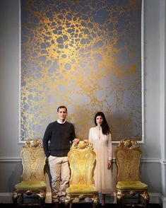 « Co-Founders Rachel and Nick Cope invite you to experience. « Co-Founders Rachel and Nick Cope invite you to experience their exhibition a Kitchen Wallpaper Accent Wall, Framed Wallpaper, Home Wallpaper, Wall Painting Decor, Mural Wall Art, Wall Decor, Gold Interior, Home Interior Design, Wall Design