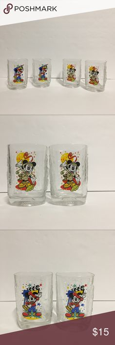 Disney Mickie Mouse Mc Donald's Glasses (4) Mickey Mouse Mc Donald's Glasses year 2000 Excellent Condition Disney Other