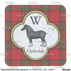Clydesdale Plaid Monogram Personalize Square Paper Coaster