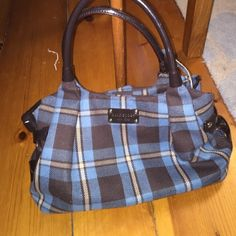 Kate Spade Charlton Blue Plaid Stevie Handbag Blue plaid wools with brown patent leather side and bottom. Used only a few times. Excellent condition. Interior zip pocket with two no zip pockets. kate spade Bags Satchels