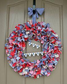 Fourth of July Patriotic Rag Wreath