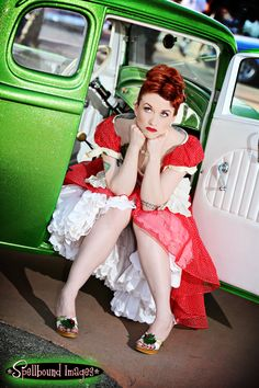 Ruby Red Hair & Sapphire Blue Eyes all sitting in an Emerald Green Classic