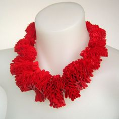 red ruff, ruffle collar bib necklace, designer accessory, avant garde statement necklace