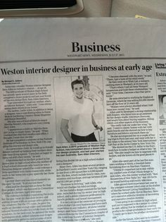 Sam Allen Interiors on the cover of The Westport News Business Section.