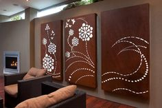 'Flower Wave' light box triptych, laser cut wall art for outdoor rooms