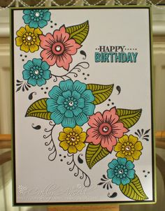 Flower Drawing Tutorials, Simple Birthday Cards, Altenew Cards, Card Drawing, Doodle Lettering, Doodle Designs, Beautiful Handmade Cards, Flower Doodles, Copics