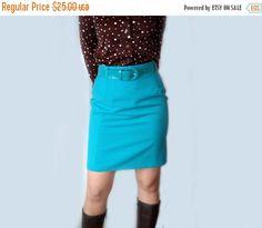 VINTAGE mod skirt  vintage blue skirt  vintage mini by semivint