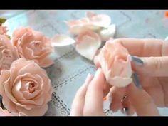 Gentle rose from a foamiran of master class \/ Foam tutorial // Марина Crepe Paper Flowers, Paper Roses, Felt Flowers, Diy Flowers, Cloth Flowers, Fabric Flowers, Foam Crafts, Diy Crafts, Craft Foam